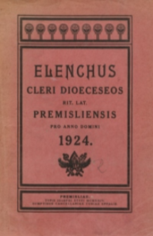 Elenchus Cleri Dioeceseos Rit[us] Lat[ini] Premisliensis pro Anno Domini 1924