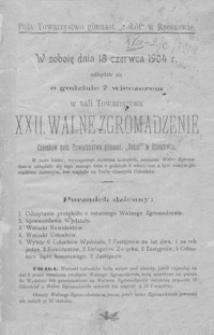 """XXII Walne Zgromadzenie Członków pols. Towarzystwa gimnast. """"Sokół"""" w Rzeszowie"""