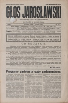 Głos Jarosławski : czasopismo katolicko-narodowe. 1927, R. 1, nr 14-18 (grudzień)