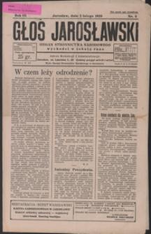 Głos Jarosławski : organ Stronnictwa Narodowego. 1929, R. 3, nr 5-8 (luty)