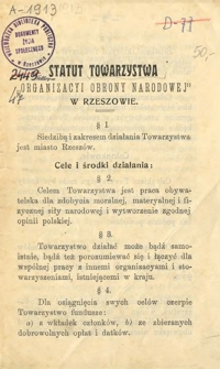 Statut Towarzystwa Organizacyi Obrony Narodowej w Rzeszowie