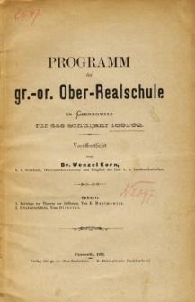 Programm der Gr.-Or. Ober-Realschule in Czernowitz fur das Schuljahr 1891/92