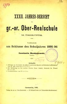 Jahresbericht der Gr.-Or. Ober-Realschule in Czernowitz am Schlusse des Schuljahres1895/96