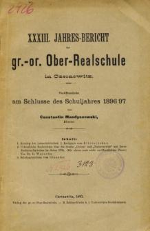 Jahresbericht der Gr.-Or. Ober-Realschule in Czernowitz am Schlusse des Schuljahres1896/97
