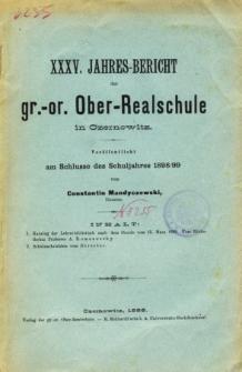 Jahresbericht der Gr.-Or. Ober-Realschule in Czernowitz am Schlusse des Schuljahres1898/99