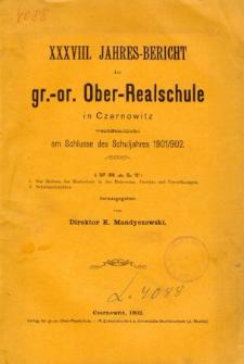 Jahresbericht der Gr.-Or. Ober-Realschule in Czernowitz am Schlusse des Schuljahres1901/1902