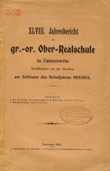 Jahresbericht der Gr.-Or. Ober-Realschule in Czernowitz am Schlusse des Schuljahres1911/1912