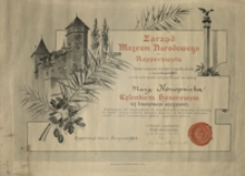 [Dyplom członka honorowego Muzeum w Rapperswilu dla Marii Konopnickiej]