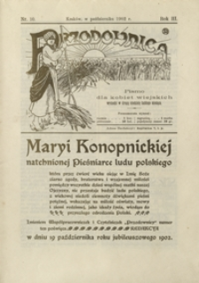 Przodownica : pismo dla kobiet wiejskich. 1902, R. 3, nr 10 (19 października 1902)
