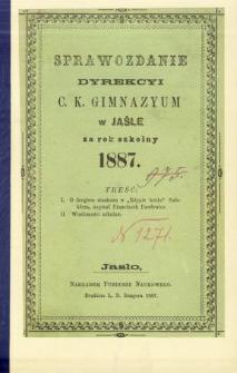 Sprawozdanie Dyrekcyi C. K. Gimnazyum w Jaśle za rok 1887