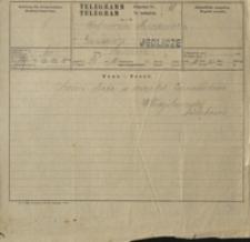 Telegram z okazji jubileuszu 25-lecia pracy pisarskiej Marii Konopnickiej