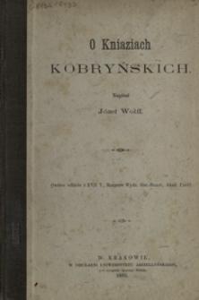 O kniaziach Kobryńskich