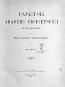 Pamiętnik Akademii Umiejętności w Krakowie. Wydziały: Filologiczny i Historyczno-Filozoficzny. T. 3