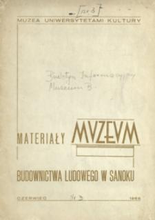 Materiały Muzeum Budownictwa Ludowego w Sanoku. 1966, nr 3 (czerwiec)