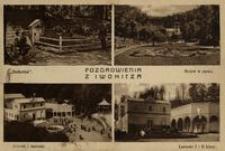 """Pozdrowienia z Iwonicza : """"Bełkotka"""". Motyw w parku. Deptak i łazienki. Łazienki I i II klasy [Pocztówka]"""